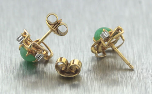 Ladies Vintage Estate Green Chrysoprase Diamond 14K 585 Yellow Gold Earrings