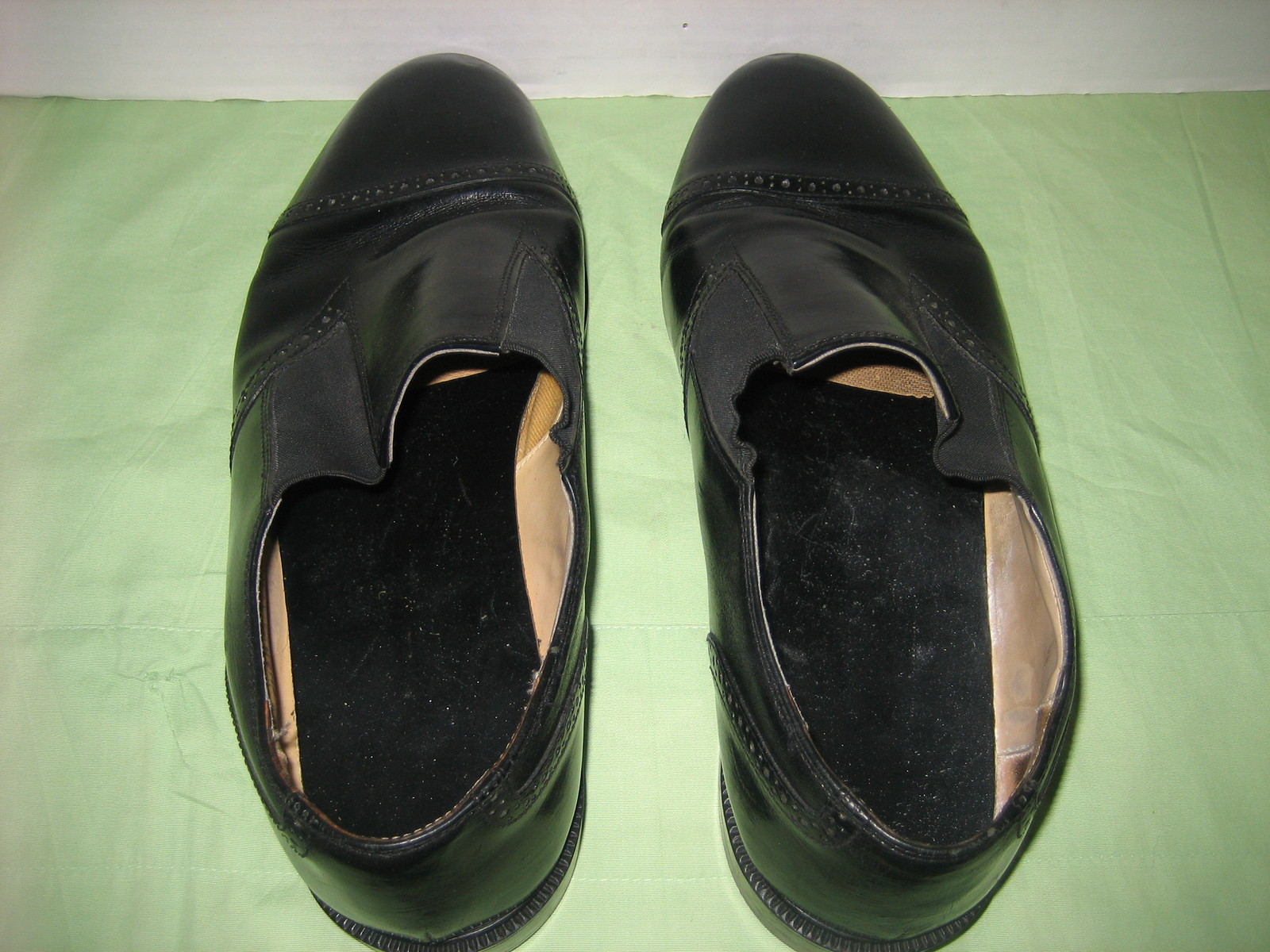 BROGUE BLACK LEATHER Italy Made Men's Dress Loafers w/ Captoes & Gores, 12 EE+