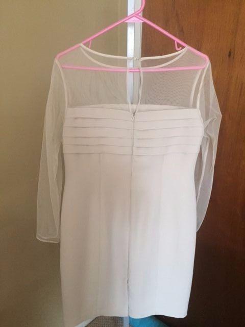 Talbots Petites Beige A-line  Dress Sheer Top & Sleeves Size 10