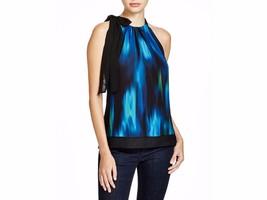 T TAHARI Women's Blue Green Dawn Bow Tie Sleeveless Halter Neck Blouse - $59.00