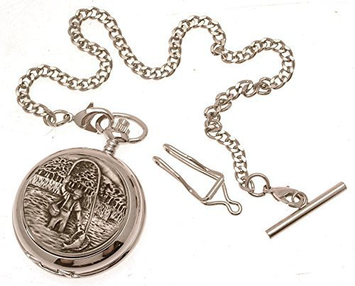 Engraving included - Solid pewter fronted mechanical skeleton pocket watch - ...
