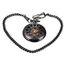 Antique Retro Hollow Mechanical Skeleton Necklace Pocket Watch - $335,58 MXN