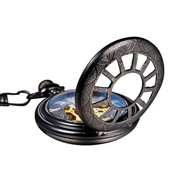 Antique Retro Hollow Mechanical Skeleton Necklace Pocket Watch