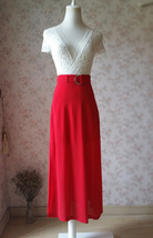 Double Slit Skirt Long RED SKIRT Lady Red High Waisted Party Skirt with Belt NWT image 3
