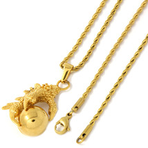 """Women's Gold Tone Stainless Steel Eagle Claw Pendant 2mm 20"""" Rope Neckla... - $19.79"""
