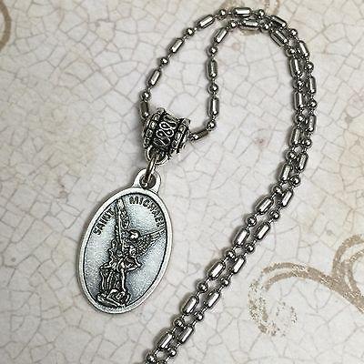 Saint Michael Archangel Protection Italian Medal Pendant Silver Tone Catholic