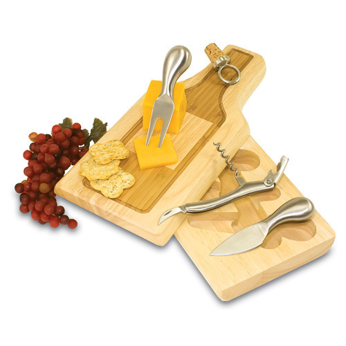 Silhouette - Wine Bottle Cheese Board w/ Tools