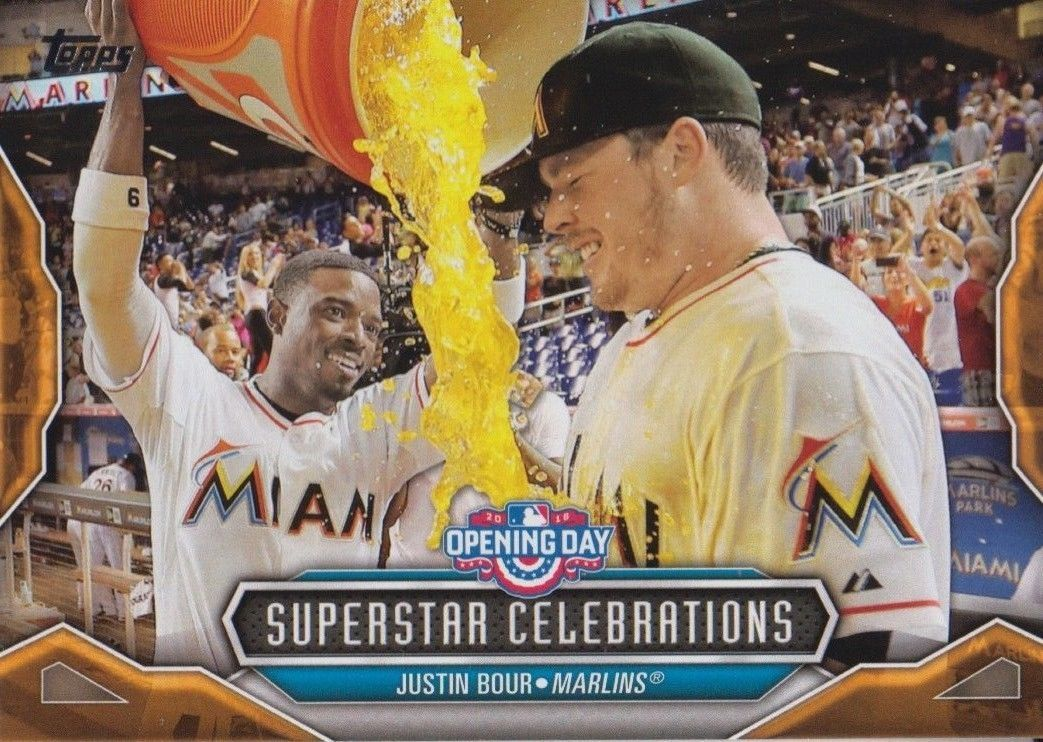Justin Bour 2016 Topps Opening Day Superstar Celebrations Card #SC-20