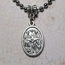 4 Four Way Cross Jesus Catholic Religious Protection Medal Pendant Silver Tone  - $8.99
