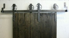 """6' 6""""  Classic by-pas vintage sliding door hardware  raw steel kit made... - $375.00"""