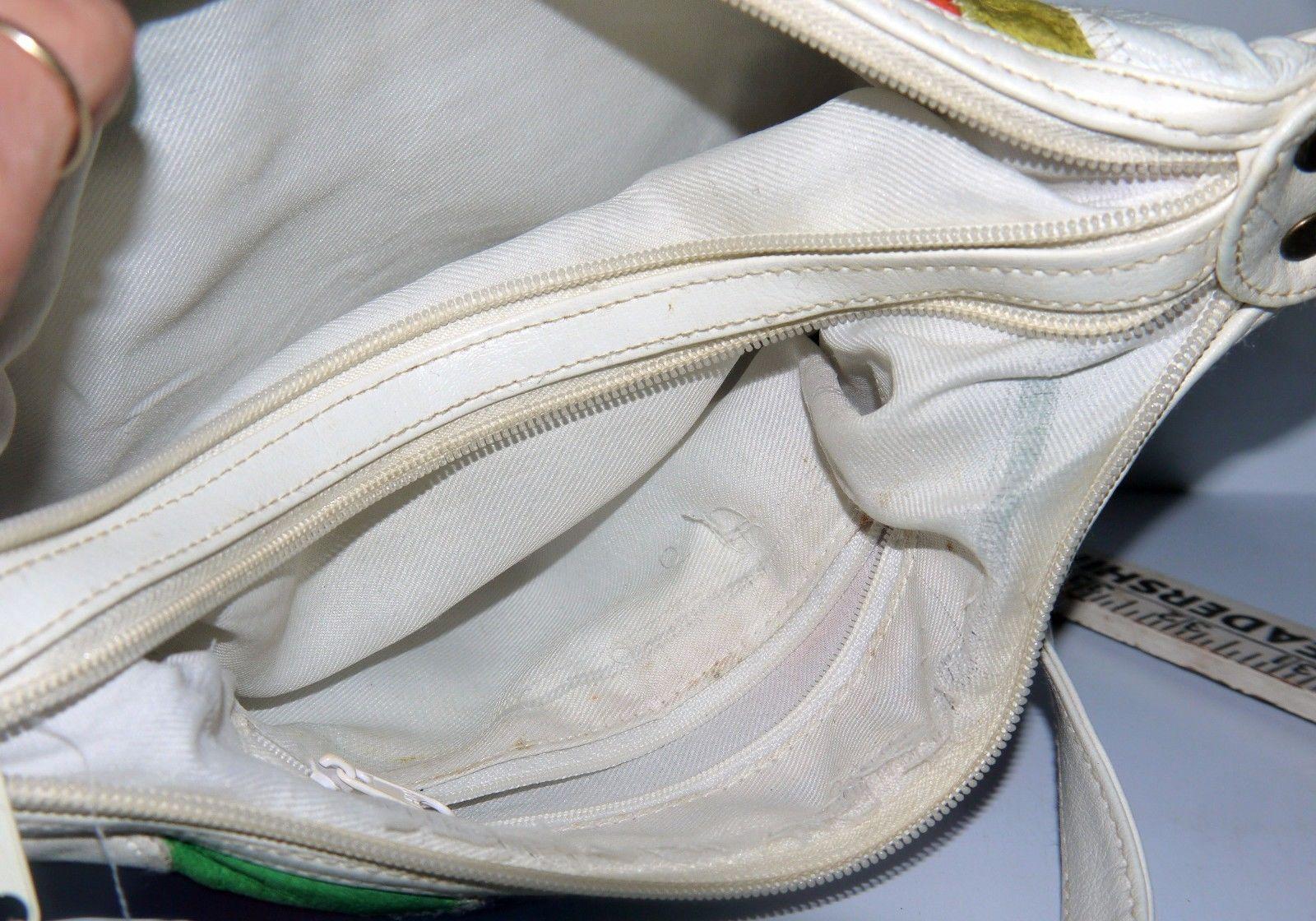 Ladies White Vinyl Zippered Shoulder Handbag w/Multi-Colored Patchwork Design