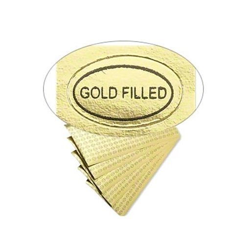"500 Peel Off Adhesive LABELS Tags ~ Oval 1/2"" x 5/16""  Marked ""Gold Filled"""