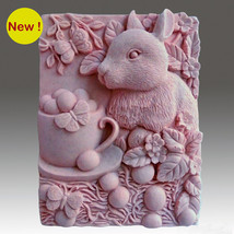Silicone Mold, Bunny Cup-Detail of high relief sculpture,plaster mold, s... - $24.39