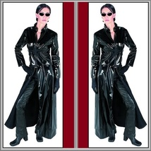 "Goth Black Matrix Trinity Trench Coat Faux Patent Leather ""Wet Look"" Front Zips image 2"