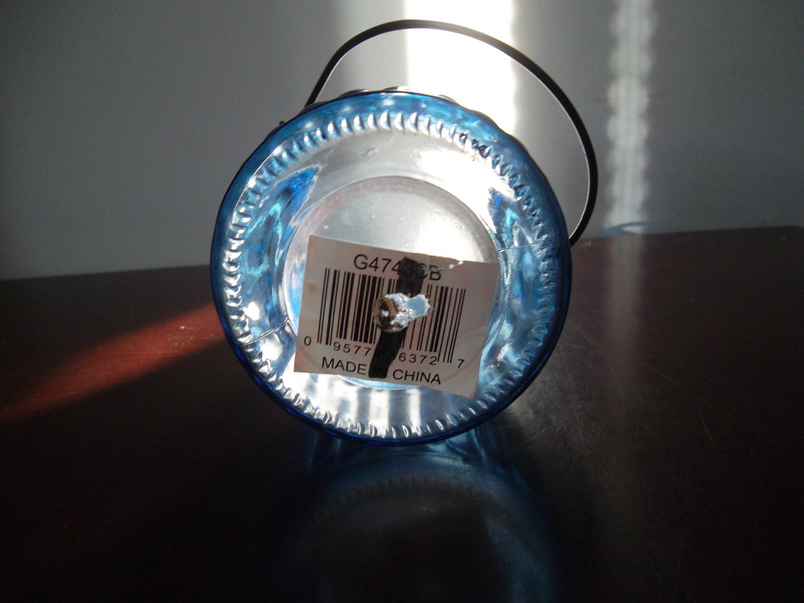 """3""""~deep Blue jar with handle-candle-holder-vase-incense-pencil/pens holder"""