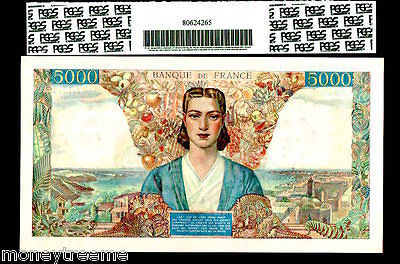 """FRANCE P103c """"ALLEGORY of FRANCE"""" 1945 5000 FRANCS- FRENCH COLONIES PMG 58"""