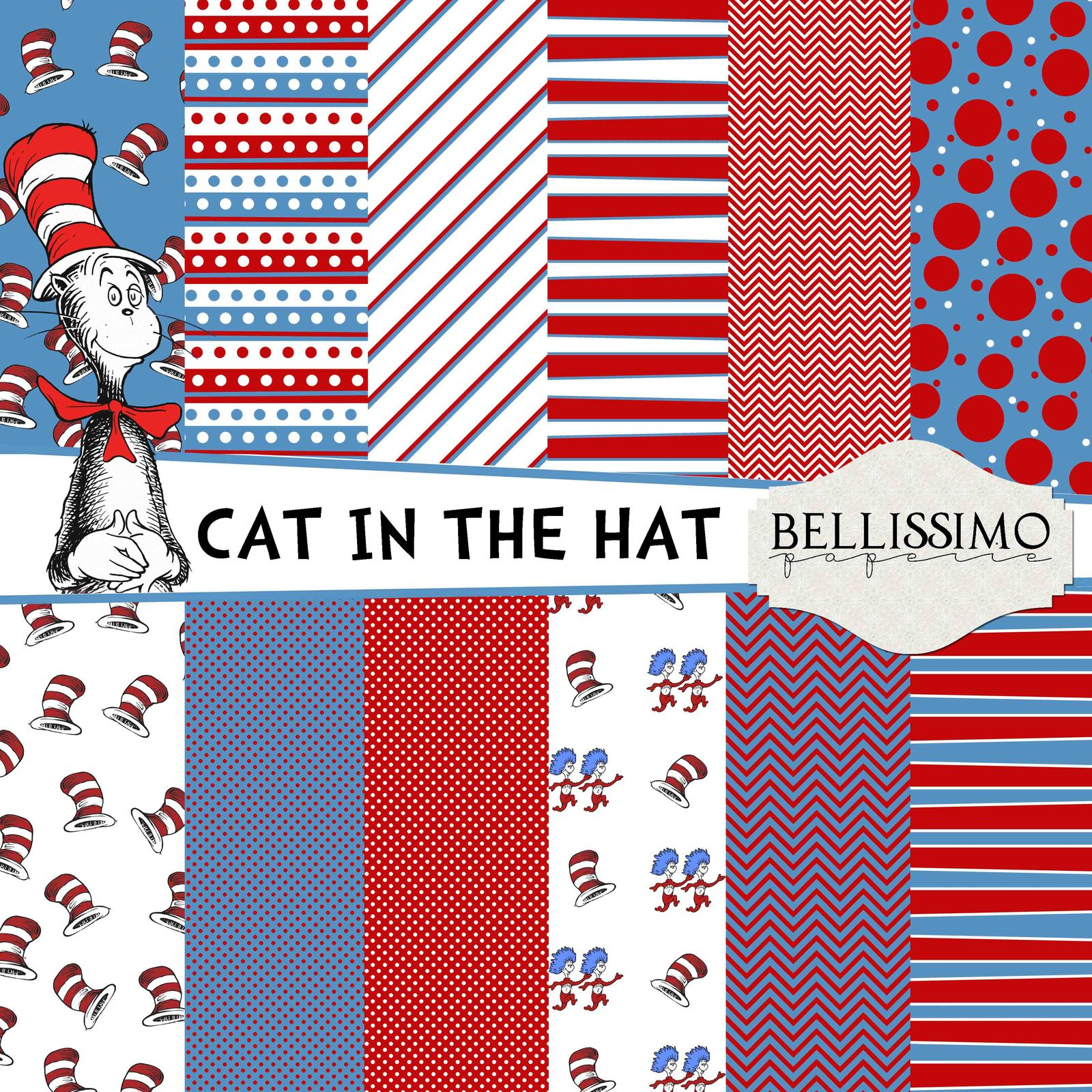 Used, Cat in th hat, Dr. Seuss Paper Pack: Scrapbook Paper, PRINTED, 12 Sheets for sale  USA