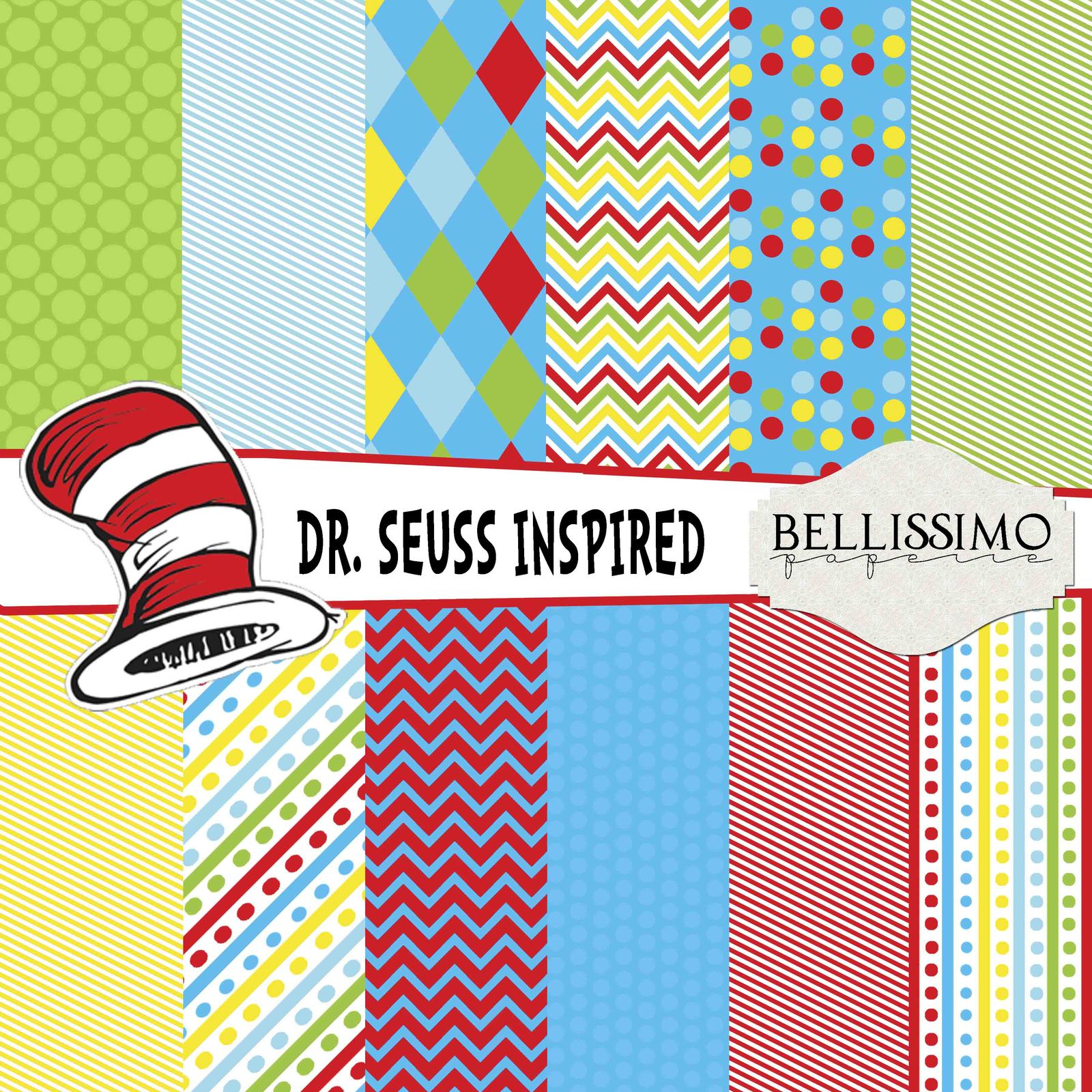 Dr. Seuss Inspired Paper Pack: Scrapbook Paper, PRINTED, 12 Sheets