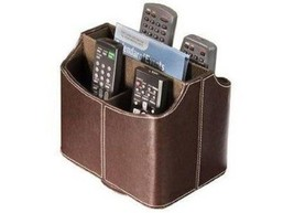 Spinning Media Storage Faux Leather Remote Control Organizer Holder Cadd... - $187,73 MXN