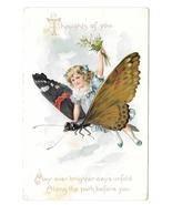 Fantasy Girl Riding Butterfly Child Vntg Tuck Embossed Birthday Series P... - $9.95