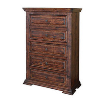 Rustic Mauve 5 Drawer Chest Solid Wood Lodge Shabby Chic - $895.90
