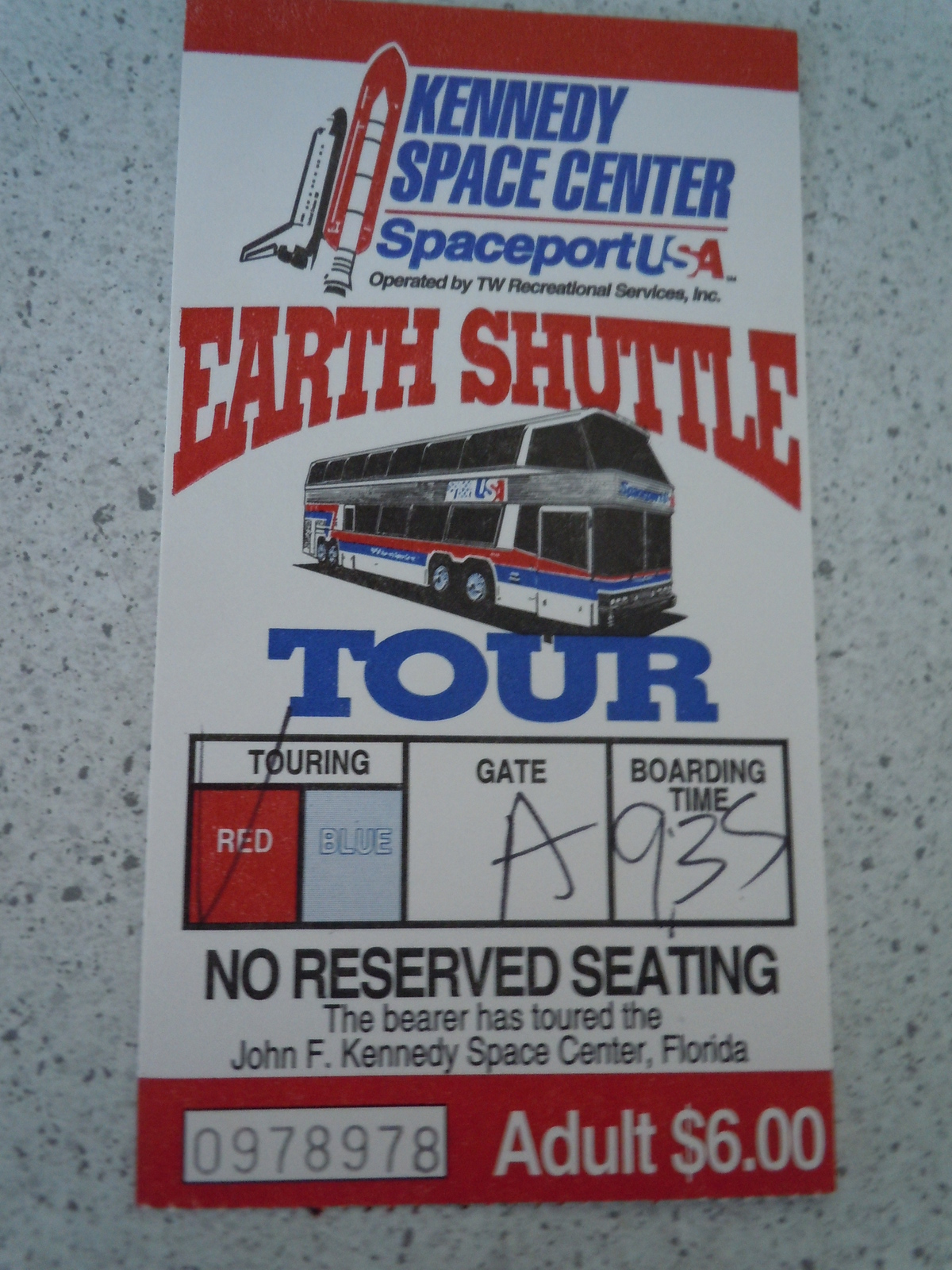 Kennedy Space Center Spaceport USA Earth Shuttle Tour Florida Used Ticket