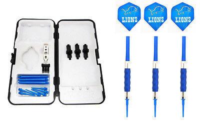 Blue Detroit Lions Standard Rubberized Sure Grip Soft Tip Dart Set + Case 16g -4