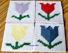Tulip Coasters, Plastic Canvas, Handmade, Cross Stitch, Square Coasters,... - $15.00
