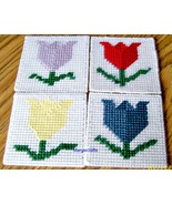Tulip Coasters, Plastic Canvas, Handmade, Cross Stitch, Square Coasters,... - $17.00