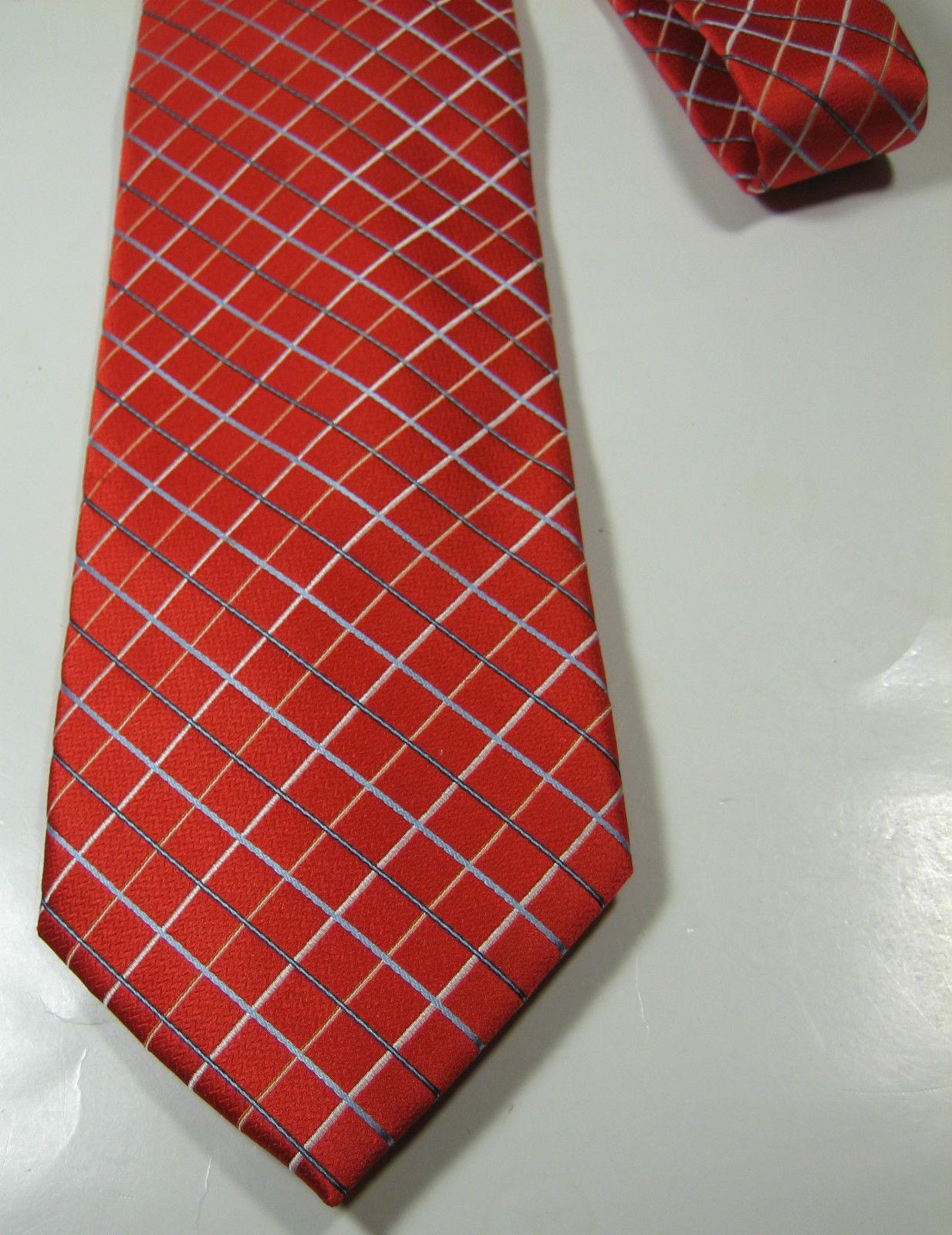 HART SCHAFFNER MARX Rich Orange Blue Plaid  Tie 100% Silk