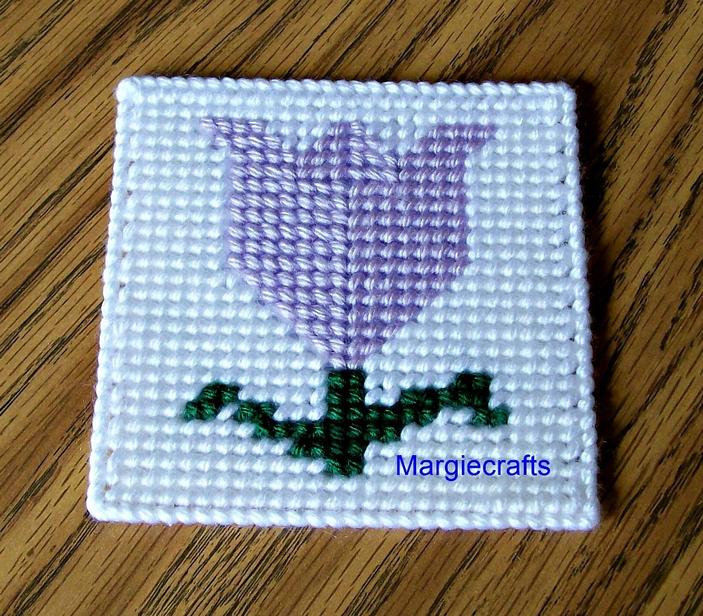 Tulip Coasters, Plastic Canvas, Handmade, Cross Stitch, Square Coasters, Summer
