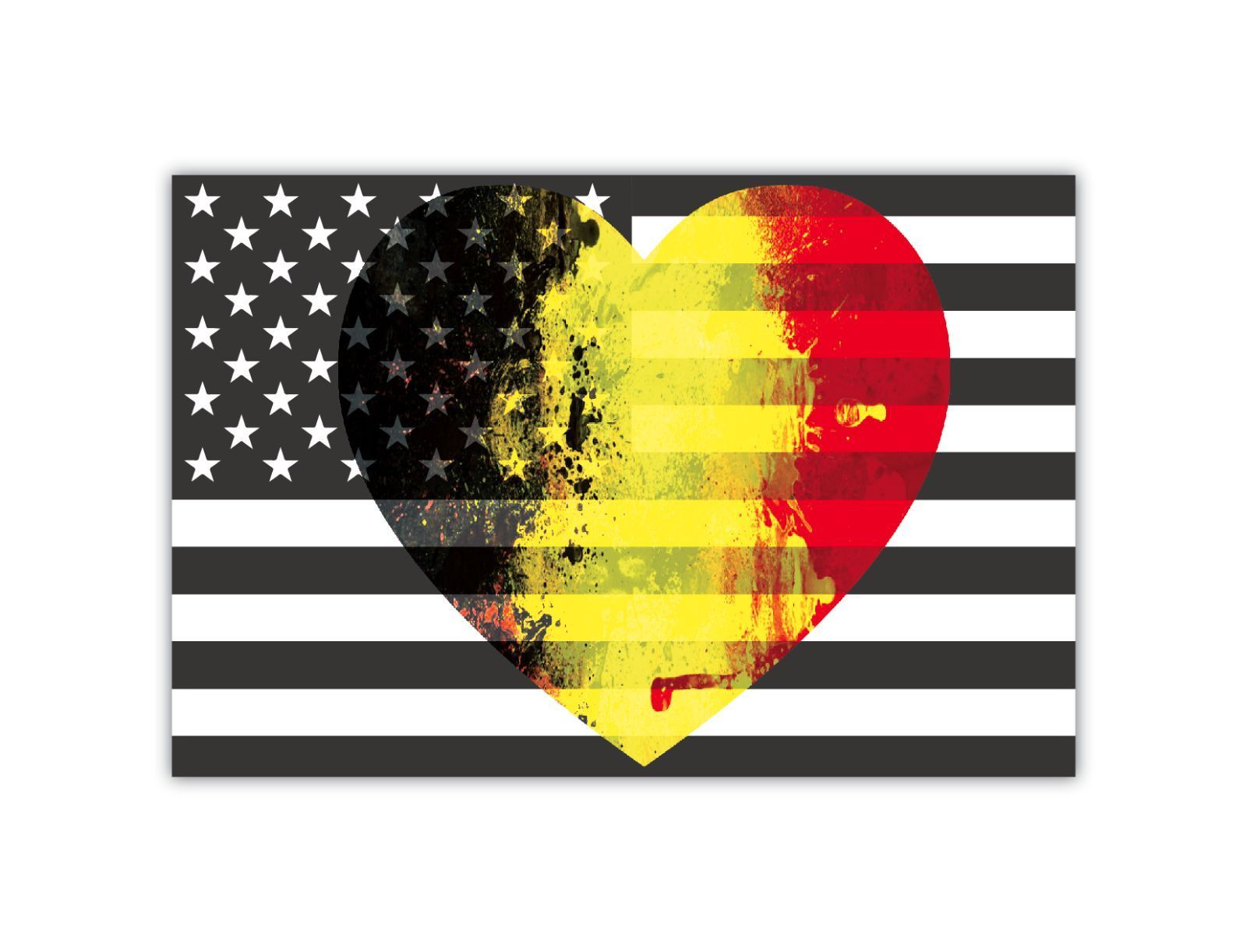 B/W American Flag with Belgian Heart Flag Car Magnet 2 Pack 4 inch x 6 inch