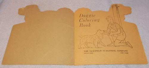 Vintage Saalfield Doggie Coloring Book 1950 unused Cocker Spaniel
