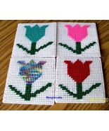 Summer Coasters, Plastic Canvas, Handmade, Cross Stitch, Square Coasters - $17.00