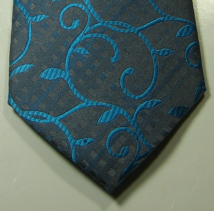 ALFANI Rich Gray with Paisley Electric Ocean Blue/Green Tie RARE  100% Silk
