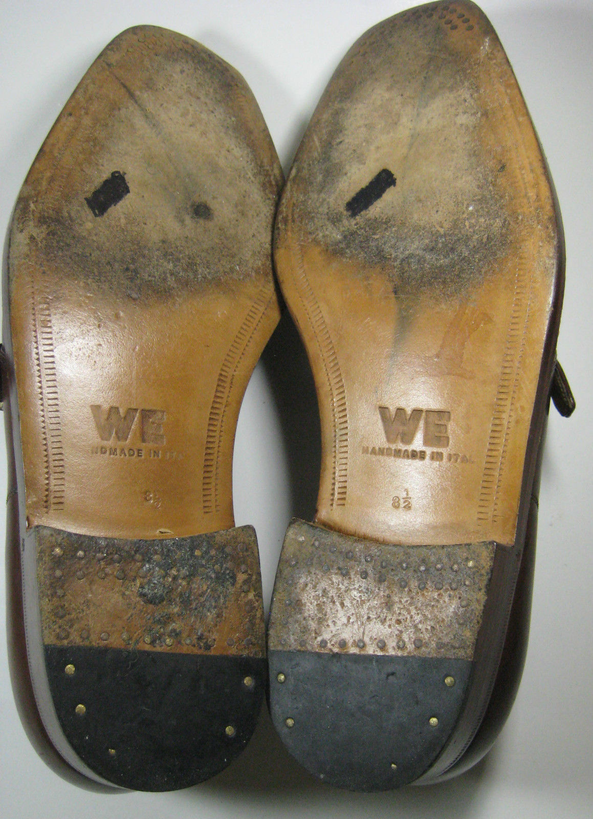 Warren Edwards Brown Leather Monk Strap Loafers HAND MADE in ITALY 8 1/2 8.5