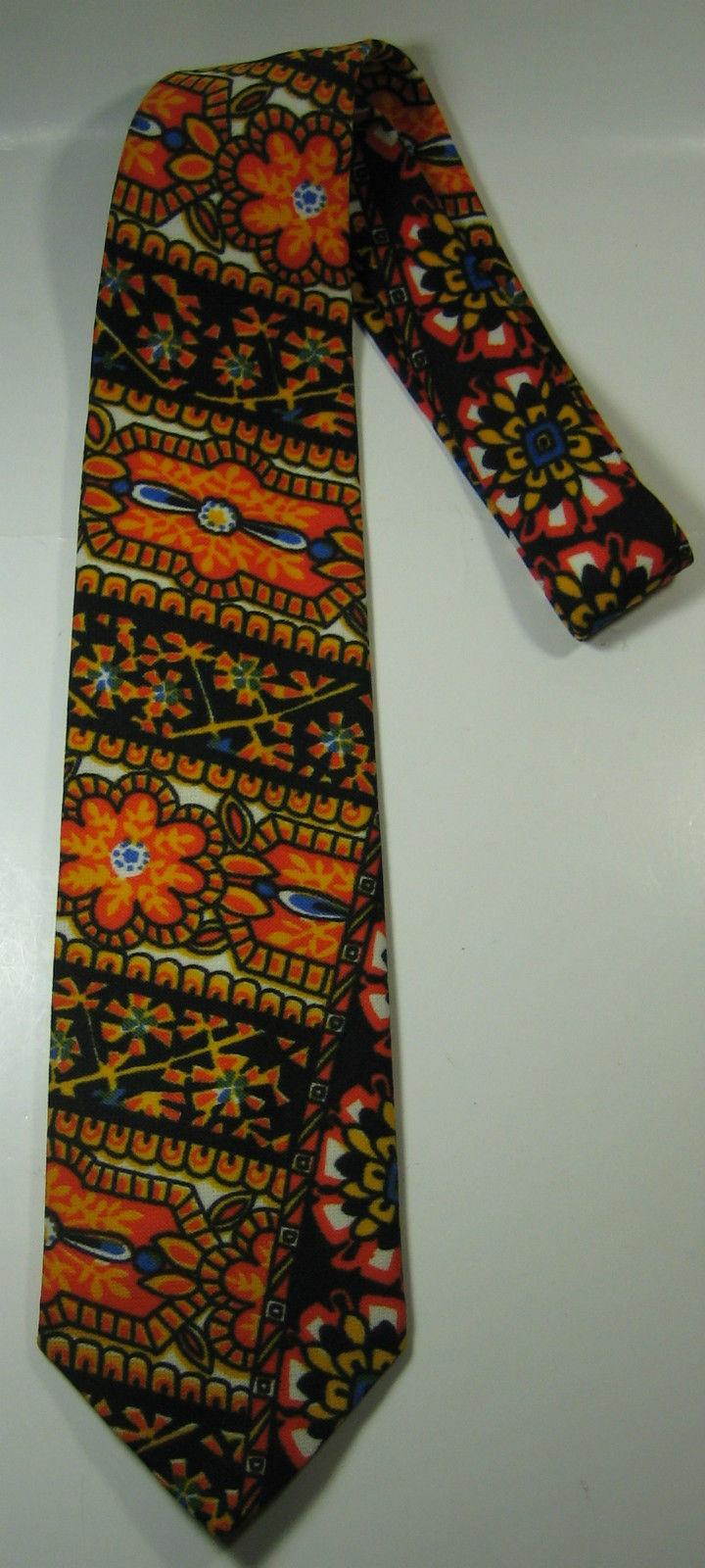 LIT BROTHERS Rich Orange Blue Black Flower Floral Vintage  Wide Tie