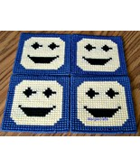 Smiley Face Coasters, Plastic Canvas, Handmade, Cross Stitch, Square, Su... - $17.00