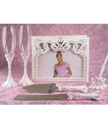 Princess Tiara Royal Wedding Set Accessories Reception Guest Book Flutes... - $59.38