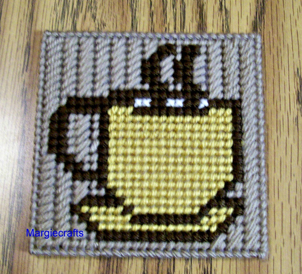 Coffee Cup Coasters, Plastic Canvas, Handmade, Cross Stitch, Square, Summer