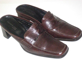 Kenneth Cole New York Mules Brown Strong Leather  HEEL Sz 41 9.5 RARE - $99.99