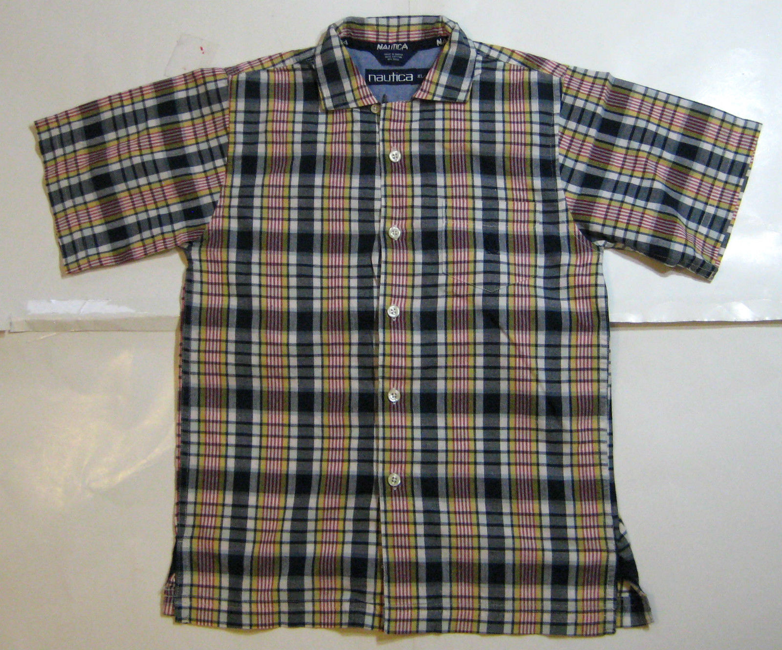 NAUTICA  XL (7)  Blue Yellow Red Plaid Short Sleeve  Boys Shirt RARE