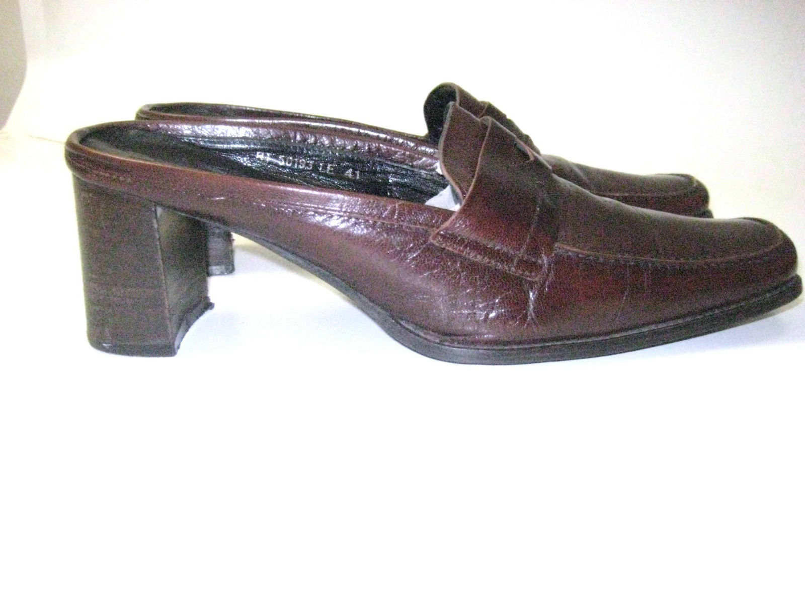 Kenneth Cole New York Mules Brown Strong Leather  HEEL Sz 41 9.5 RARE