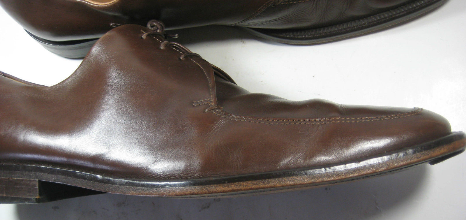 HUGO BOSS US 12  UK 11 Rich Brown Leather Oxfords Rare Strong