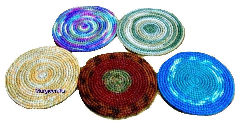 Drink Coasters, Plastic Canvas, Handmade, Cross Stitch, Round Coasters,
