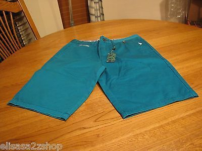 Men's RARE Modern Amusement walk casual shorts 28 turquoise BL CROW school surf