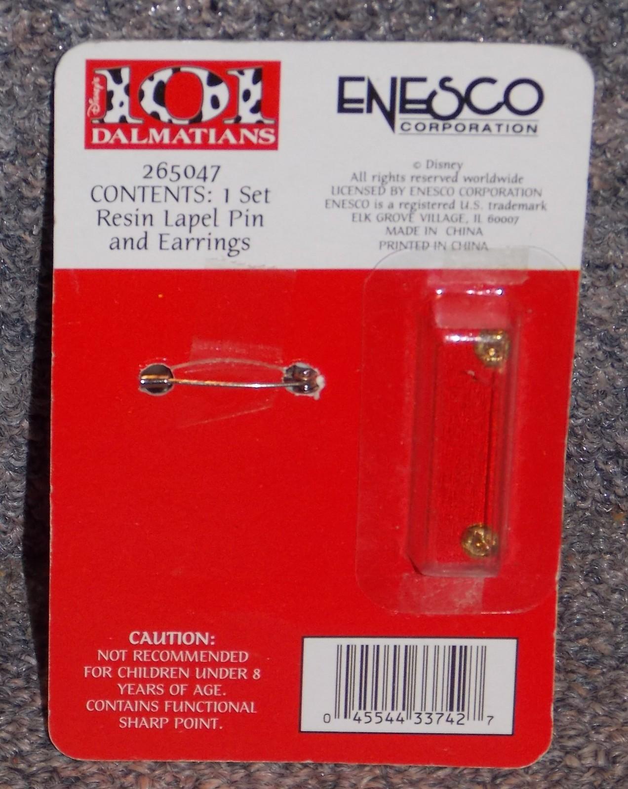 Disney Enesco 101 Dalmations Lapel Pin & Earrings Set New