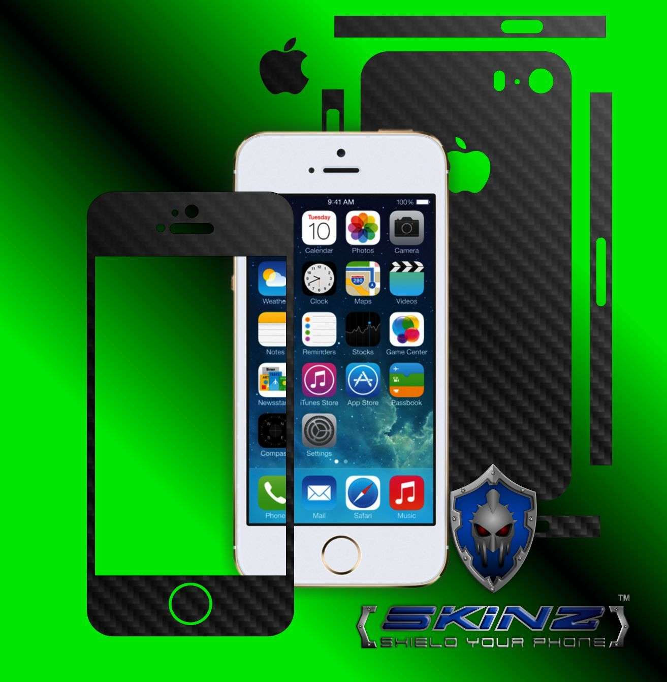 Apple iPhone SE - Carbon Skin, Full Body Case Cover Protector, Decal Wrap