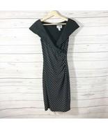 Joseph Ribkoff Polka Dot Dress Sz 2 Black Skeeveless Faux Wrap Stretchy - $56.09