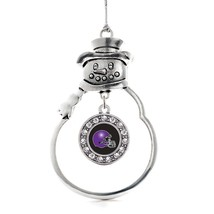 Inspired Silver Black and Purple Team Helmet Circle Snowman Holiday Christmas Tr - $14.69
